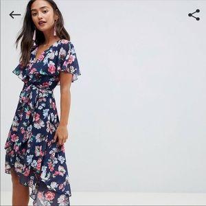 ASOS cape back floral high/low wrap dress 14